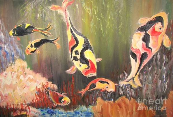 Fish Print featuring the painting A School Of Koi by Rachel Carmichael