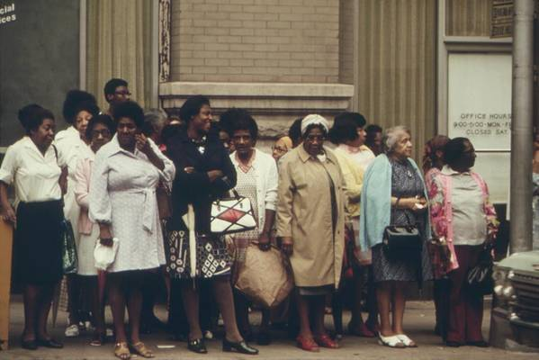 History Print featuring the photograph African Americans Mostly Women Waiting by Everett