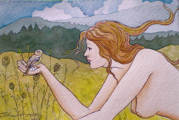 Woman Art Print featuring the painting Autumn by Sheri Howe