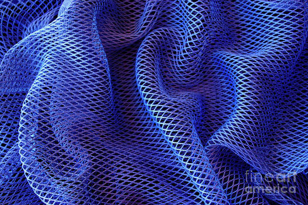 Abstract Print featuring the photograph Blue Net Background by Carlos Caetano