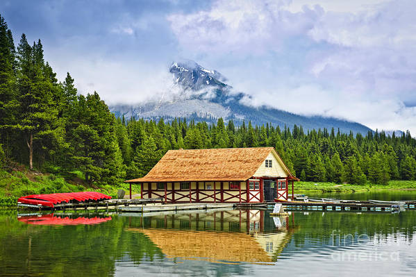 Boat House Print featuring the photograph Boathouse On Mountain Lake by Elena Elisseeva