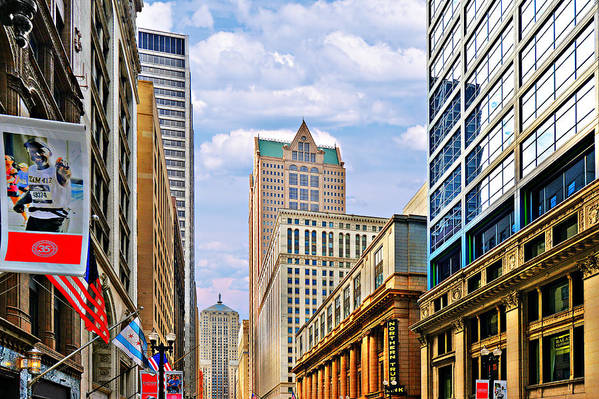 Chicago Print featuring the photograph Chicago - Looking South From Lasalle Street by Christine Till