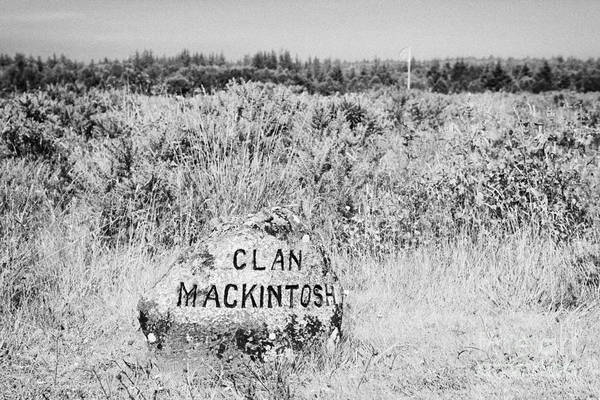 Memorial Print featuring the photograph clan mackintosh memorial stone on Culloden moor battlefield site highlands scotland by Joe Fox