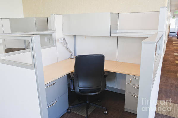 Architecture Print featuring the photograph Empty Office Cubicle by Jetta Productions, Inc