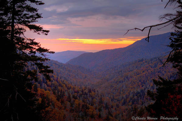 Sunset Print featuring the photograph Fall Sunset by Charles Warren