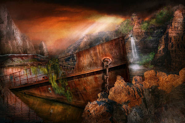 Island Print featuring the photograph Fantasy - Ship Wrecked by Mike Savad