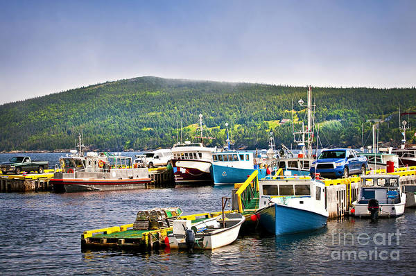 Boats Print featuring the photograph Fishing Boats In Newfoundland by Elena Elisseeva