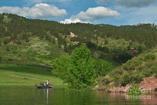 Horsetooth Reservoir Print featuring the photograph Fishing On Horsetooth Reservoir by Harry Strharsky