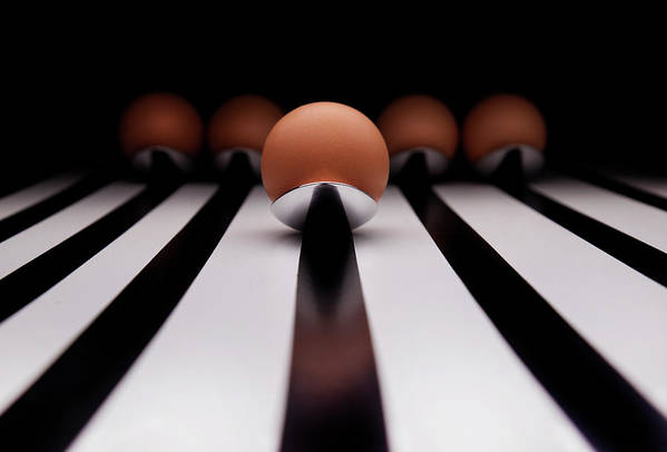 Horizontal Print featuring the photograph Five Brown Eggs Held In Five Stainless Steel Spoon by TonyMaj