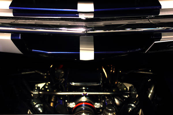Abstract Print featuring the photograph Ford Mustang Front View by Radoslav Nedelchev