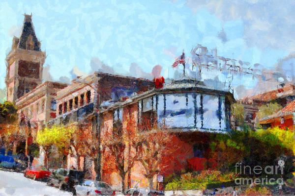 San Francisco Print featuring the photograph Ghirardelli Chocolate Factory San Francisco California . Painterly . 7d14093 by Wingsdomain Art and Photography