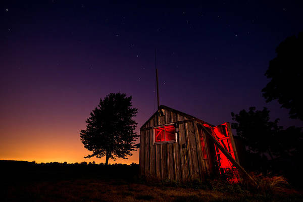 Shed Print featuring the photograph Glowing Shed by Cale Best