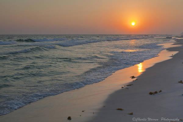 Beach Print featuring the pyrography Grayton Beach Sunset 5 by Charles Warren