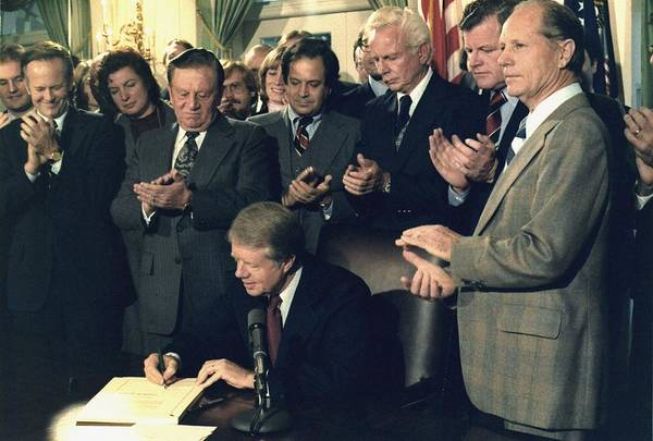 History Print featuring the photograph Jimmy Carter Signs Airline Deregulation by Everett