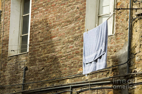 Apartment Print featuring the photograph Laundry Hanging From Line, Tuscany, Italy by Paul Edmondson