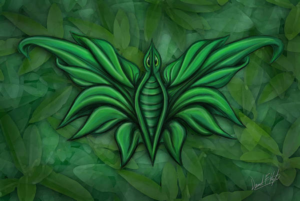 Bug Print featuring the painting Leafy Bug by David Kyte
