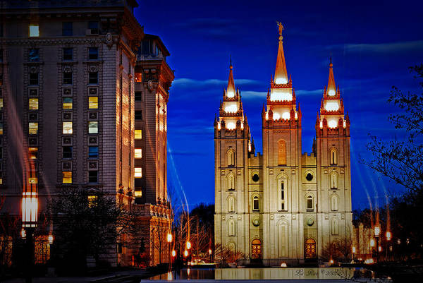 Salt Lake Temple Flowers Light Trails Heavenly Light Print featuring the photograph Let Your Light Shine by La Rae Roberts
