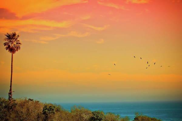 Horizontal Print featuring the photograph Light Of Sun Setting On Malibu Beach by Albert Valles