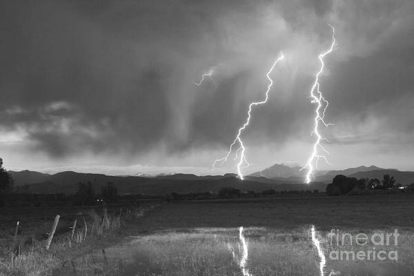Awesome Print featuring the photograph Lightning Striking Longs Peak Foothills Bw by James BO Insogna