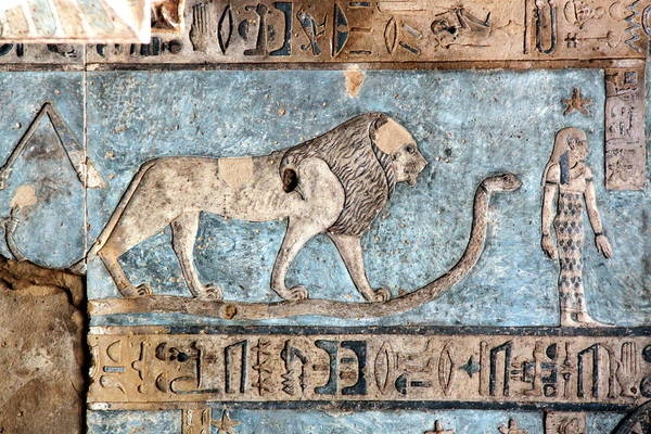 Horizontal Print featuring the photograph Lion At Dendera, Egypt by Joe & Clair Carnegie / Libyan Soup