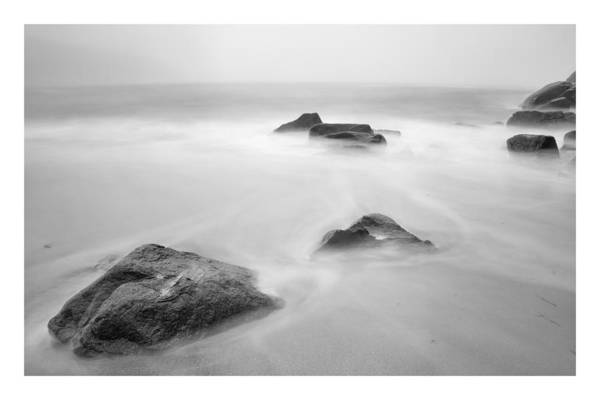 Black And White Print featuring the photograph Lost Rocks by Chad Tracy