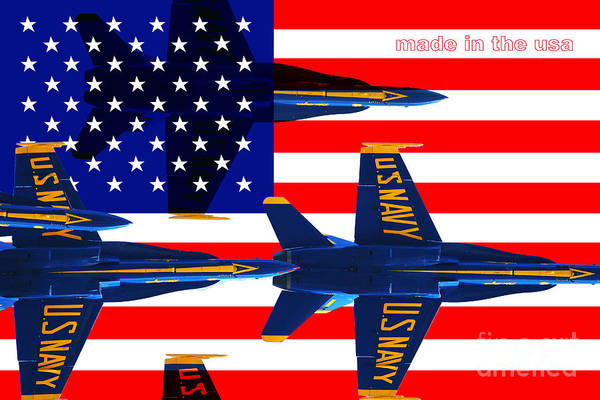 Patriotic Print featuring the photograph Made In The Usa . Blue Angels by Wingsdomain Art and Photography