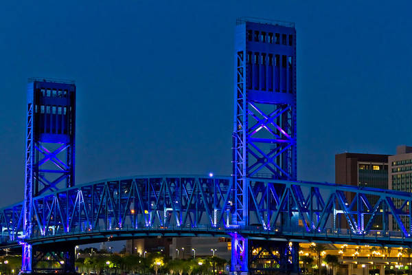 Florida Print featuring the photograph Main Street Bridge Jacksonville by Debra and Dave Vanderlaan