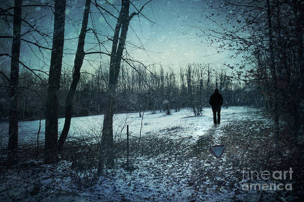 Abandoned Print featuring the photograph Man Walking In Snow At Winter Twilight by Sandra Cunningham