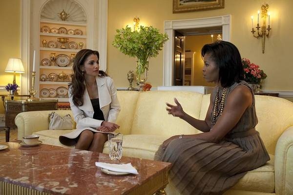 History Print featuring the photograph Michelle Obama And Queen Rania by Everett