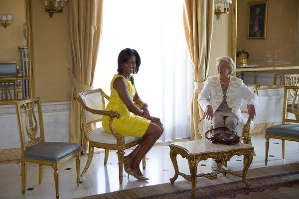 History Print featuring the photograph Michelle Obama Meets With Clio by Everett