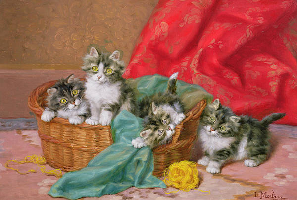 Wicker Basket; Wool Print featuring the painting Mischievous Kittens by Daniel Merlin