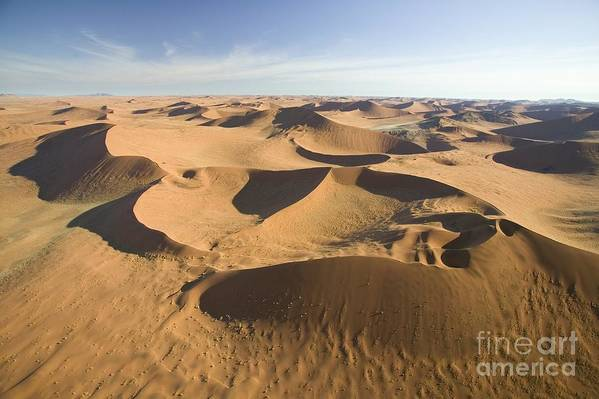 Desert; Landscape; Birds Eye View; Remote; Wilderness; African; Arid; Dry; Empty; Hot; Dunes; Epic; Distance; Sand Dunes; Formation; Geological; Formations; Scenic Print featuring the photograph Namib Desert by Namib Desert