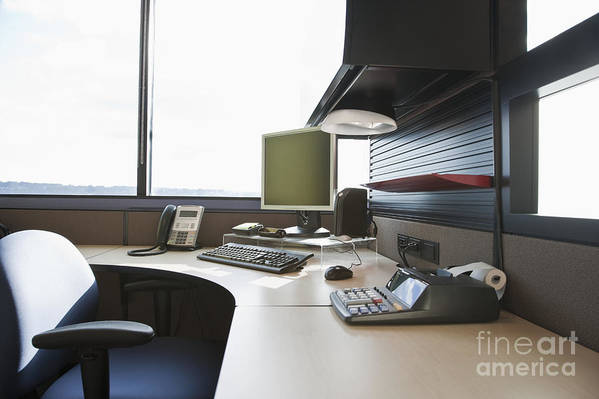 Adding Machine Print featuring the photograph Office Work Station by Jetta Productions, Inc