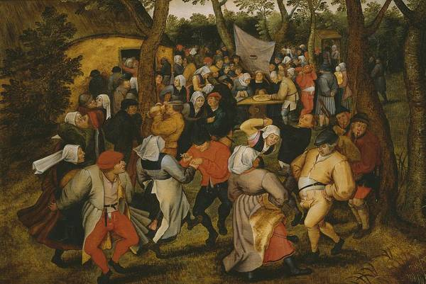 Male; Female; Couple; Couples; Peasant; Peasants; Farmer; Farmers; Farm; Bride; Table; Money; Dancer; Dancers; Celebration; Celebrating; Bagpipes; Folk; Rural; Countryside; Openair; Open Air Print featuring the painting Open Air Wedding Dance by Pieter the Younger Brueghel