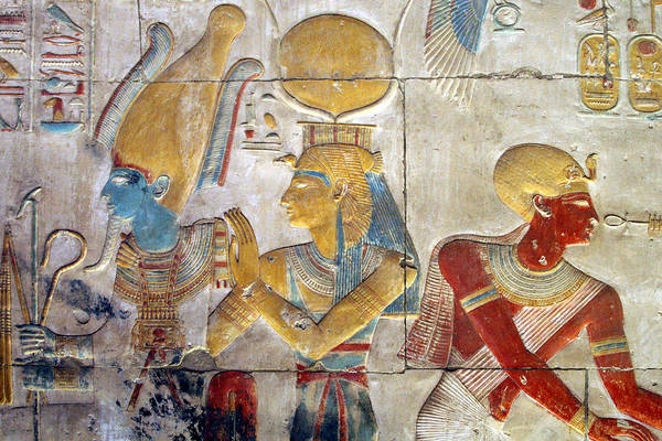 Horizontal Print featuring the photograph Osiris And Isis, Abydos by Joe & Clair Carnegie / Libyan Soup