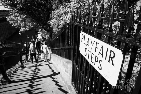 Princes Print featuring the photograph Playfair Steps Down Into Princes Street Gardens Edinburgh Scotland Uk United Kingdom by Joe Fox