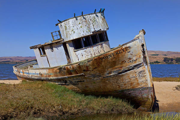 Old Print featuring the photograph Point Reyes Beached Boat by Garry Gay