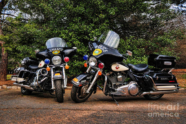 Police Bike Print featuring the photograph Police Motorcycles by Paul Ward
