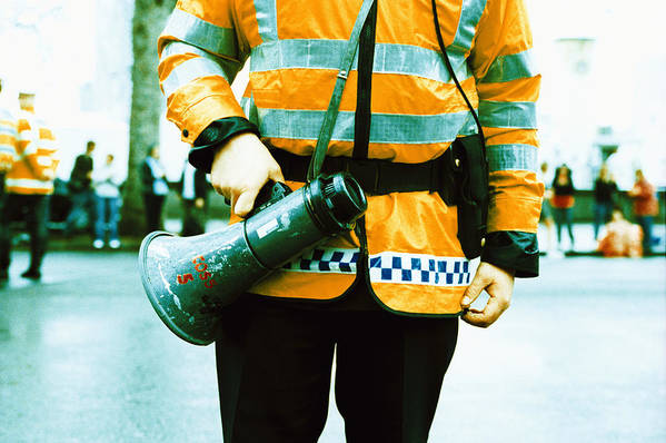 Megaphone Print featuring the photograph Police Officer by Kevin Curtis