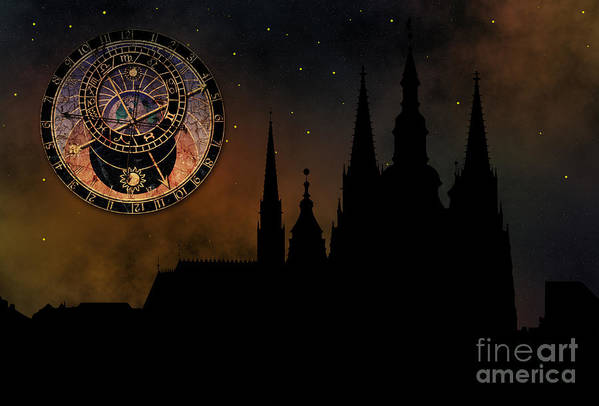 Hradcany Print featuring the digital art Prague Casle - Cathedral Of St Vitus - Monuments Of Mysterious C by Michal Boubin