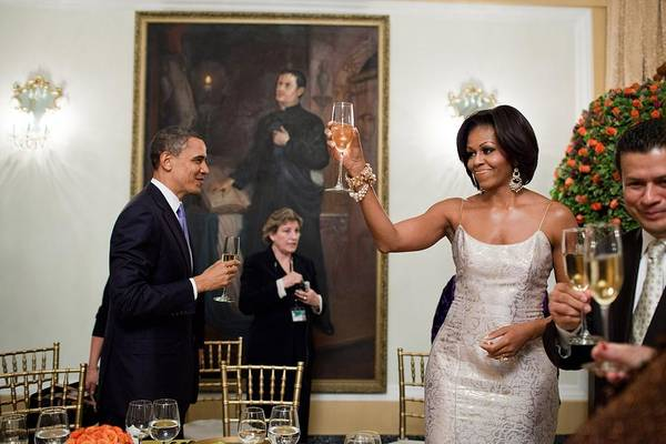 History Print featuring the photograph President And Michelle Obama Toast by Everett