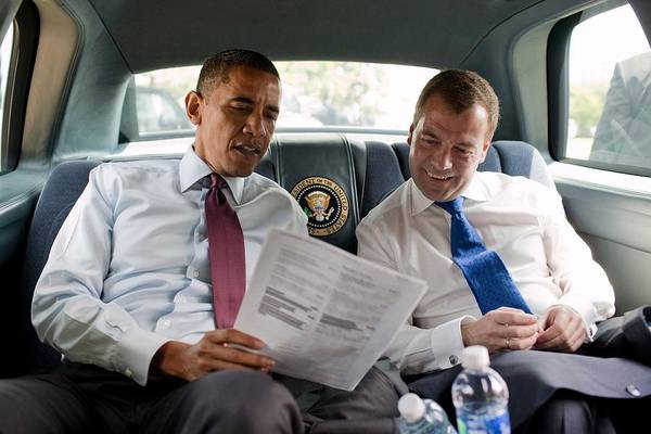 History Print featuring the photograph President Obama And Russian President by Everett
