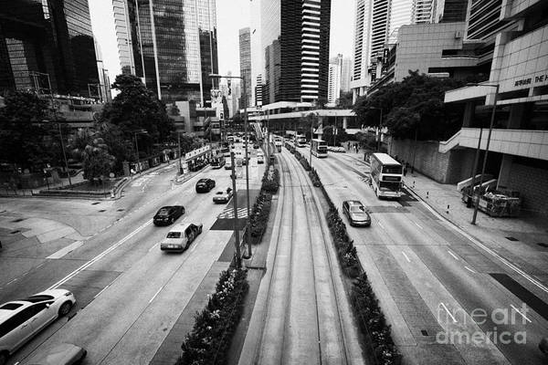 Queensway Print featuring the photograph Queensway And Queens Road East In The Admiralty District Hong Kong Island Hksar China by Joe Fox