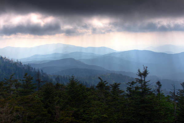 Great Smokey Mountains Print featuring the photograph Rays Of Light Over The Great Smoky Mountains by Pixel Perfect by Michael Moore