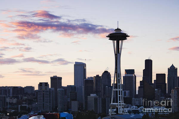 Apartment Print featuring the photograph Seattle Skyline At Dusk by Jeremy Woodhouse