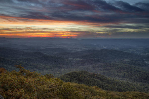 Shenandoah Print featuring the photograph Shenandoah Sunset by Pierre Leclerc Photography