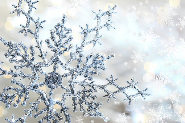 Background Print featuring the photograph Silver Blue Snowflake by Sandra Cunningham