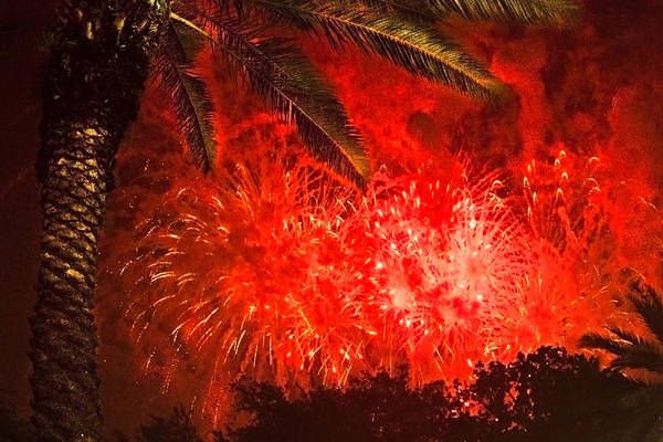 4th Of July Print featuring the photograph Sky Fire by Debra and Dave Vanderlaan