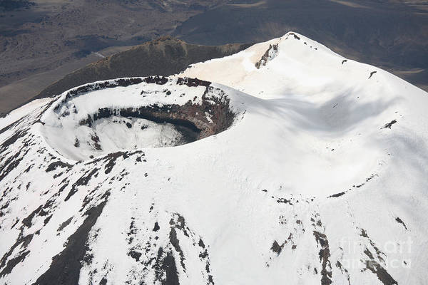 Compound Volcano Print featuring the photograph Snow-covered Ngauruhoe Cone, Mount by Richard Roscoe