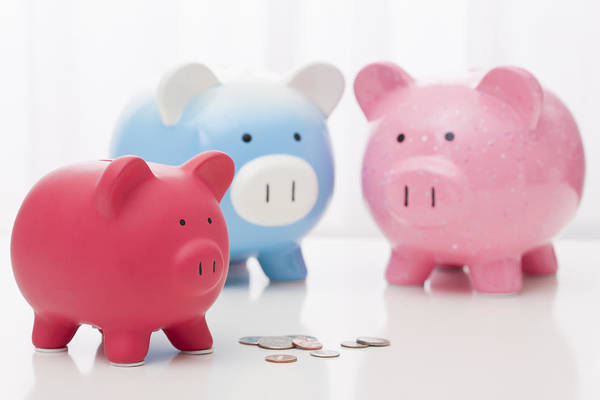 Horizontal Print featuring the photograph Studio Shot Of Piggy Banks by Vstock LLC